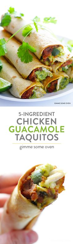 5-Ingredient Chicken Guacamole Taquitos Recipe | Mexican Dinner -- an easy appetizer or main course that everyone will love!