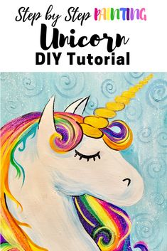 Free tutorial! Super easy and for beginners & kids! How To Paint A Unicorn - Step By Step Painting. Acrylic painting on canvas.