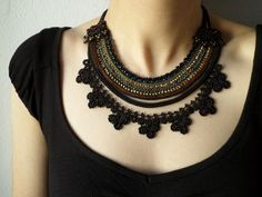 Beaded necklace - crocheted with black, gray, brown and golden colored beads | by irregular expressions
