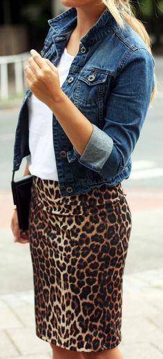 #Trendyoutfits : leopard print pencil skirt & denim jacket.....i have this skirt but never thought of that combination!