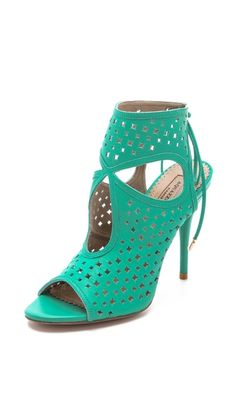 On sale for EUR 250. This could be our wedding teamcolour! Aquazzura Sexy Star Perforated Sandals, via shopbop.com