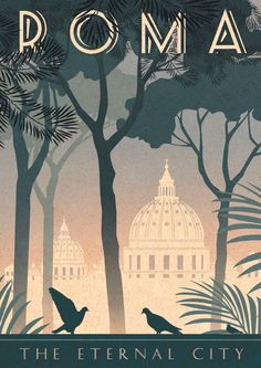 Retro Italy Travel Inspiration - Rome Art Deco Poster Print Vintage Italy Vatican City Retro Vogue Cityscape Travel Holiday Romantic Bahaus Roma - Vintage style art print - designed by Kate Sampson Rome themed, featuring St Peters dome, pine trees Vintage Italy, Italia Vintage, Vintage Art, Retro Art, Vintage Vogue, Logo Vintage, Vintage Ideas, Style Vintage, Etsy Vintage