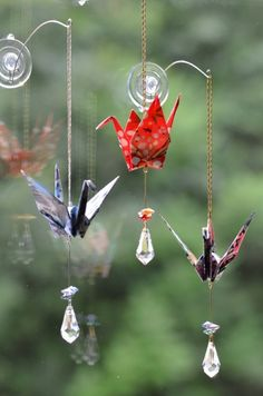 Origami Crane Hanging Ornament pretty flowers by EastWindDesigns