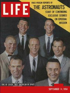 """Seven Astronauts ~ Life Magazine ~  September 14, 1959 issue ~ Click image to purchase. Enter """"pinterest"""" at checkout for a 12% discount."""