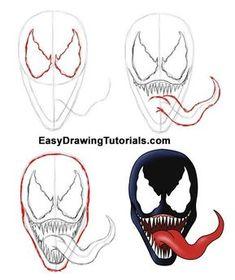 skizzen zeichnen Drawing of Venom Spiderman Kunst, Spiderman Drawing, Drawing Superheroes, Marvel Drawings, Disney Drawings, Cartoon Drawings, How To Draw Spiderman, Easy Graffiti Drawings, Art Drawings Sketches Simple