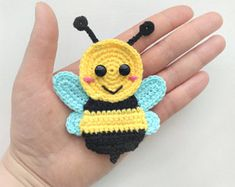 PATTERN Bee Applique Crochet Pattern PDF Instant Download Baby Shower Gift Spring Bug Applique Pattern Motif Ornament for Baby Blanket ENG