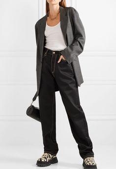 Black denim Button and concealed zip fastening at front polyester, cotton Machine wash Boyfriend Style, Boyfriend Jeans, Twill Shirt, Embellished Jeans, Wide Leg Jeans, Grunge Fashion, Black Denim, Flare Jeans, Editorial Fashion