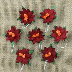 5 x 30mm DEEP RED Mulberry Paper Flowers POINSETTIA Christmas Cardmaking Crafts #WildOrchidCrafts #Embellishments