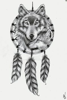 tattoo_design___wolf_dream_catcher_by_rozthompsonart-d5sxxuh.jpg (736×1086)