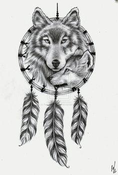 tattoo_design___wolf_dream_catcher_by_rozthompsonart-d5sxxuh.jpg (736×1086)