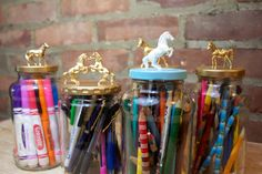 DIY horse topped decorative jars More