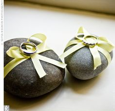 The Rings Instead of carrying the rings on ring pillows, the ring bearers brought out rocks wrapped in ribbon. Wedding Engagement, Diy Wedding, Wedding Photos, Wedding Ideas, Wedding Events, Wedding Ceremony, Wedding Stuff, Ring Bearer Pillows, Ring Pillows