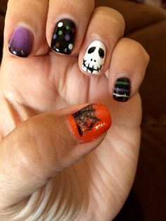 Spooky scary Halloween nightmare before Christmas Cnd shellac with disco ball glitter and black pigment additives David Anthony salon and spa Lake St. Louis, MO 63367 @jhiggiddy @alisamarie222