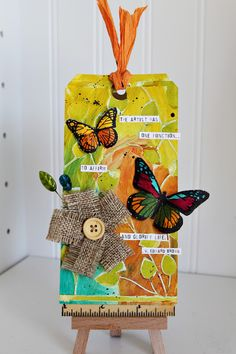"""Ronda Palazzari using the Crafter's Workshop stencils to make """"The Artist Tag""""; July 2013"""