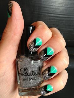 Teal-ish and glitter chevron