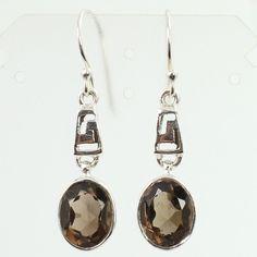 925 Sterling Silver Modern Fashion Earrings Real SMOKY QUARTZ Faceted Gemstones #SunriseJewellers #DropDangle