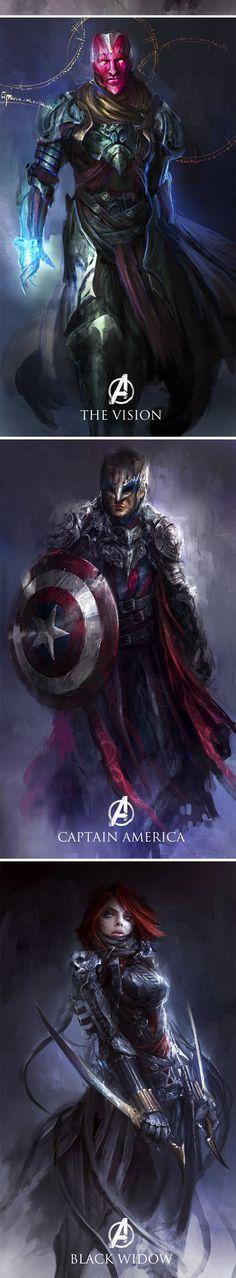 Heróis da Era de Ultron reimaginados a partir da fantasia medieval