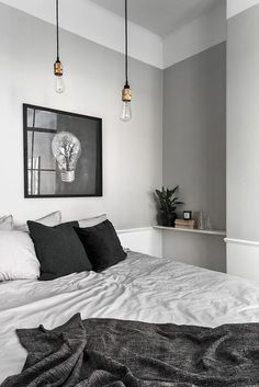gray bedroom with pop of color 15 Bedroom Interior Design Ideas with Monochrome Themes For a More Elegant Look - Home Decor Monochrome Bedroom, Gray Bedroom, Modern Bedroom, Master Bedroom, Stylish Bedroom, Bedroom Small, Wood Bedroom, Bedroom Bed, Nordic Bedroom
