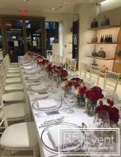Private event for Mulberry Toronto. Deep crimson flowers with monochromatic red- By Event Design Event Company, Event Management, Bat Mitzvah, Event Decor, Corporate Events, Event Design, Toronto, Wedding Decorations, Deep