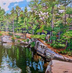 Acrylic on Gallery Canvas Achray, Algonquin Park Watercolor Landscape, Landscape Paintings, Landscapes, Algonquin Park, Puzzle Art, Landscape Quilts, Anna, Cool Paintings, Painting Techniques