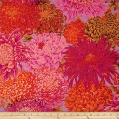 Kaffe Fassett Collective Japanese Chrysanthemum Pink from @fabricdotcom  Designed by Phillip Jacobs for Westminster/Rowan Fabrics, this cotton print fabric is perfect for quilting, apparel and home decor accents. Colors include pink, orange, peach, brown and orchid.