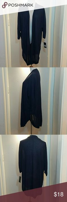 NWT Sz XL/1X Navy Blue Open Cardigan see through New open cardigan size XL. Navy blue and slightly see through.  Relaxed fit. Slit in the back. Pure Energy Tops Tunics