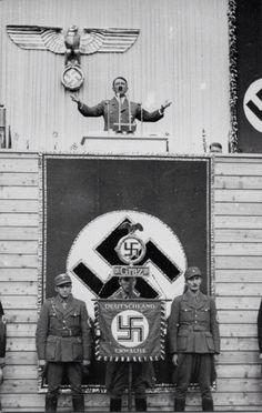 Adolfo Hitler giving a speech in Graz Austria.