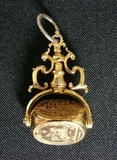 Solid 10k Gold Antique Georgian Seal Fob Sinclair of Dunn Scotland c1710