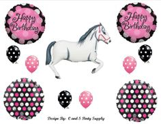 WHITE HORSE COWGIRL WESTERN BIRTHDAY PARTY BALLOONS Decorations Supplies Pink #WESTERN