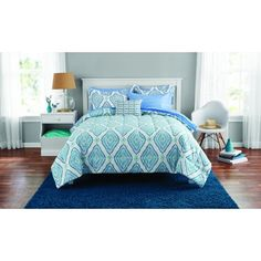 Mainstays Double Diamond Bed in a Bag Bedding Set, Blue Rose Comforter, Ruffle Comforter, Comforter Sets, Kids Bedding Sets, Cotton Bedding Sets, Luxury Bedding Sets, Modern Bedding, Bedroom Sets, Bedroom Decor