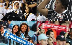 As torcedoras de Santos, Corinthians, Grêmio e Internacional (Foto: montagem sobre fotos de Daniel Augusto Jr., Pedro Ernesto Guerra Azevedo, Ricardo Duarte e Lucas Uebel)