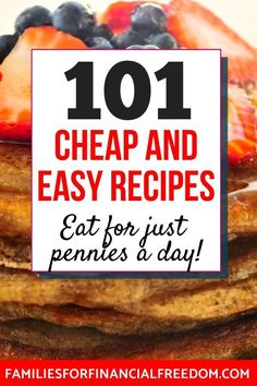 I love these 100+ cheap recipes for a tight budget! Ideas for cheap recipes for dinner, lunch, breakfast! Cheap recipes for chicken, pasta, and rice! Easy cheap recipes for families or for a crowd or large group! Cheap recipes for one, for two, or more! Easy, cheap recipes for college students! #recipes #dinner #dinnerrecipes #easydinner #easydinnerrecipes #familydinner #cheapdinners #cheapmeals #meals #savemoney #money #finance #family #save #frugal #budget #30minutemeals #mealprep…