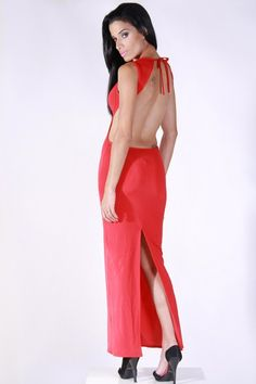 #clubwear21.com #dress #fashion backless red bustier slit back fitted evening dress-$89.00