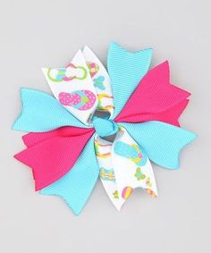 Hot Pink & Turquoise Flip Flop Spiked Bow, Alligator Clip