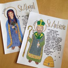 Ambrose and St. Abigail Coloring Pages (Look to Him and be Radiant) Catholic Saints For Kids, Book Of Saints, Catholic Religious Education, Catholic Mass, Catholic Crafts, All Saints Day, St Ambrose, Prayer For Church, Saint Feast Days