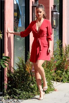 Barbara Palvin, Elle Fanning, Satin Dresses, Celebrity Pictures, Lady In Red, Fashion Models, Wrap Dress, Glamour, Womens Fashion