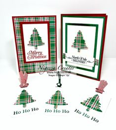 Wrapped In Plaid Sheet: 2 Cards & 3 Tags Wrapped In Plaid 6 Stamped Christmas Cards, Homemade Christmas Cards, Christmas Tree Cards, Stampin Up Christmas, Xmas Cards, Homemade Cards, Handmade Christmas, Holiday Cards, Christmas Diy