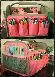 Craftsman tool tote is perfect for planner supplies organization!