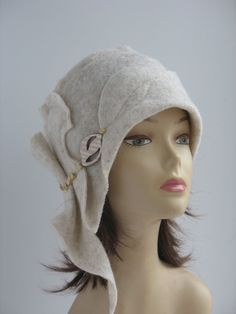 Womans Felted Hat Gatsby Style Cloche Stylish White Wool Hat