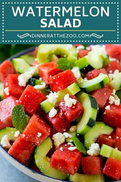This watermelon salad is full of sliced cucumbers, crumbled feta cheese and mint, all tossed in an easy lime dressing. A simple yet unusual summer salad. Salad Recipes For Dinner, Healthy Salad Recipes, Healthy Snacks, Vegetarian Recipes, Cooking Recipes, Healthy Eating, Ww Recipes, Greek Recipes, Orzo