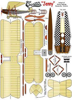 Curtiss Jenny kanadischer Trainer Source by Paper Model Car, Paper Airplane Models, Paper Car, Paper Plane, Model Airplanes, 3d Paper, Paper Toys, Origami Paper, Cardboard Model