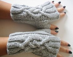 Fingerless Glove,Cable Knitted Fingerless Gloves, Light Gray Mittens Wristwarmer