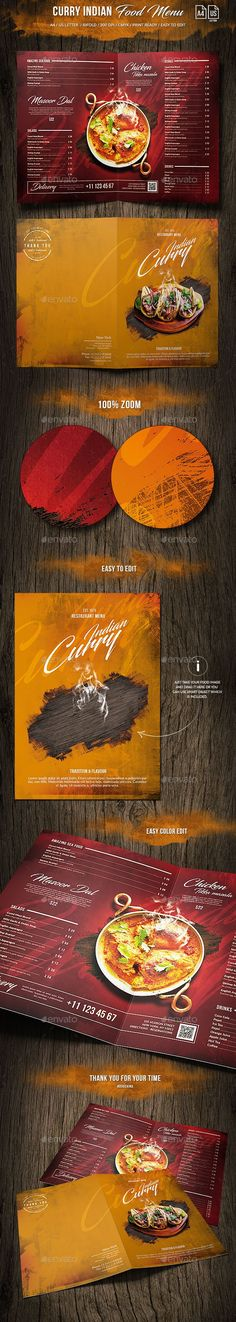 Curry Indian Food Menu - A4 and US Letter Bi-Fold - Food Menus #Print #Templates Download here: https://graphicriver.net/item/curry-indian-food-menu-a4-and-us-letter-bifold/20062560?ref=alena994