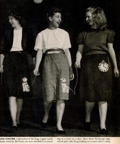 1947 teenage girls in Pittsburgh hold the chains of each other's dog chain (and watch chain) skirts.  Life magazine says another teen trend that year was the wearing of Buick hood ornaments as bracelets--one girl in Michigan collected 65 of them! /// via Life magazine