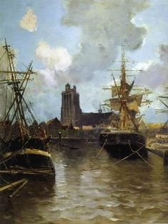 Dordrecht Harbor A Frank Myers Boggs painting
