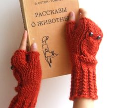 Owl Fingerless Mittens by CozySeason :$39 #Mittens #Fingerless_Mittens #Owl_Fingerless_Mittens #CozySeason
