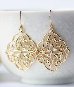 Gold Diamond Shape Filigree Earrings Titanium Matte
