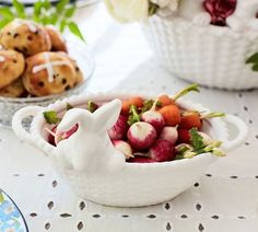 Bunny Basket Ceramic Snack Bowl