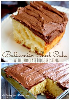 Buttermilk Sheet Cake with Chocolate Fudge Frosting by www.DelightfulEMade.com