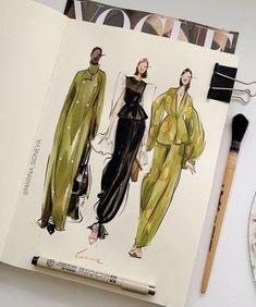 Fashion Model Sketch, Fashion Design Sketchbook, Fashion Design Drawings, Fashion Sketches, Fashion Illustration Collage, Fashion Illustration Dresses, Arte Peculiar, Textiles Sketchbook, Site Mode